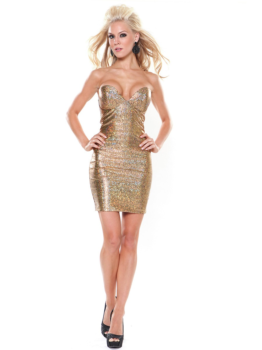 Marvelous A-Line Strapless Gold Metallic Sleeveless Short Homecoming Dress : SD0561 : $259.98