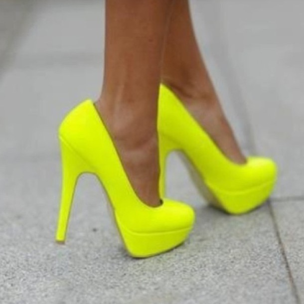 shoes, heels, neon, yellow - Wheretoget