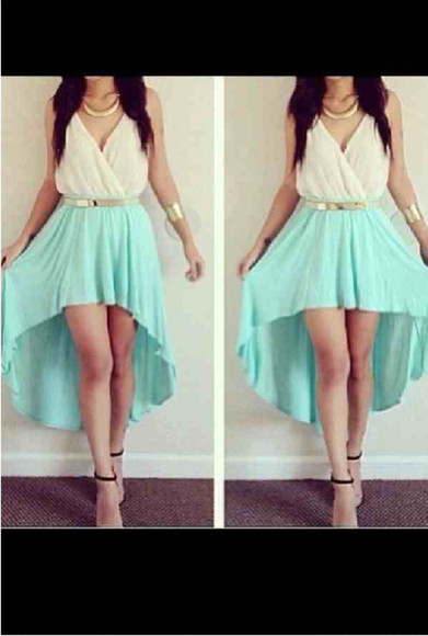 skirt mint skirt highlow goldbelt