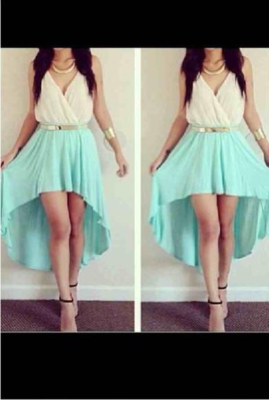 skirt mint skirt highlow goldbelt