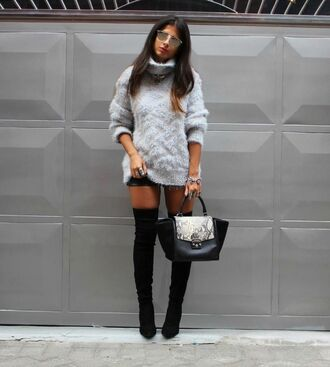 style by nelli blogger sweater dress fuzzy sweater thigh high boots suede boots python bag python fall outfits fall sweater grey oversized sweater grey cable knit sweater turtleneck turtleneck sweater leather shorts black bag over the knee boots mirrored sunglasses
