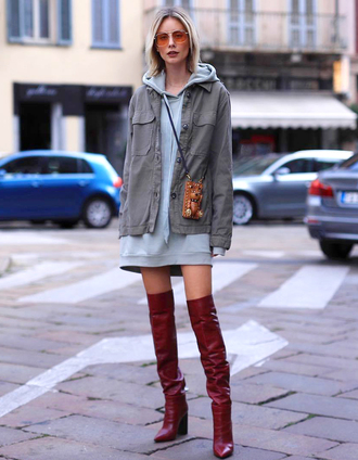 dress tumblr hoodie sweatshirt dress boots red boots over the knee jacket army green jacket sunglasses