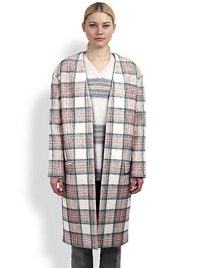 Stella McCartney - Collarless Plaid Coat - Saks.com