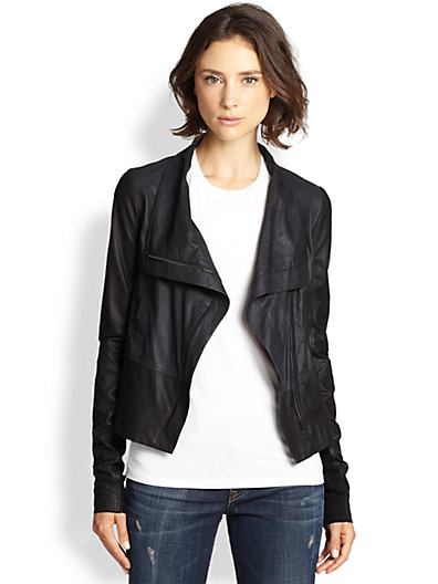 Vince - Draped Colorblock Leather Jacket - Saks.com
