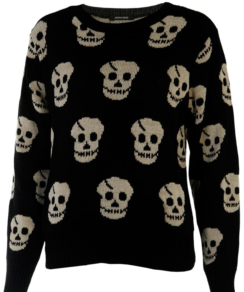 SKULL|PRINT|JUMPER|TOP|BLACK|BEIGE