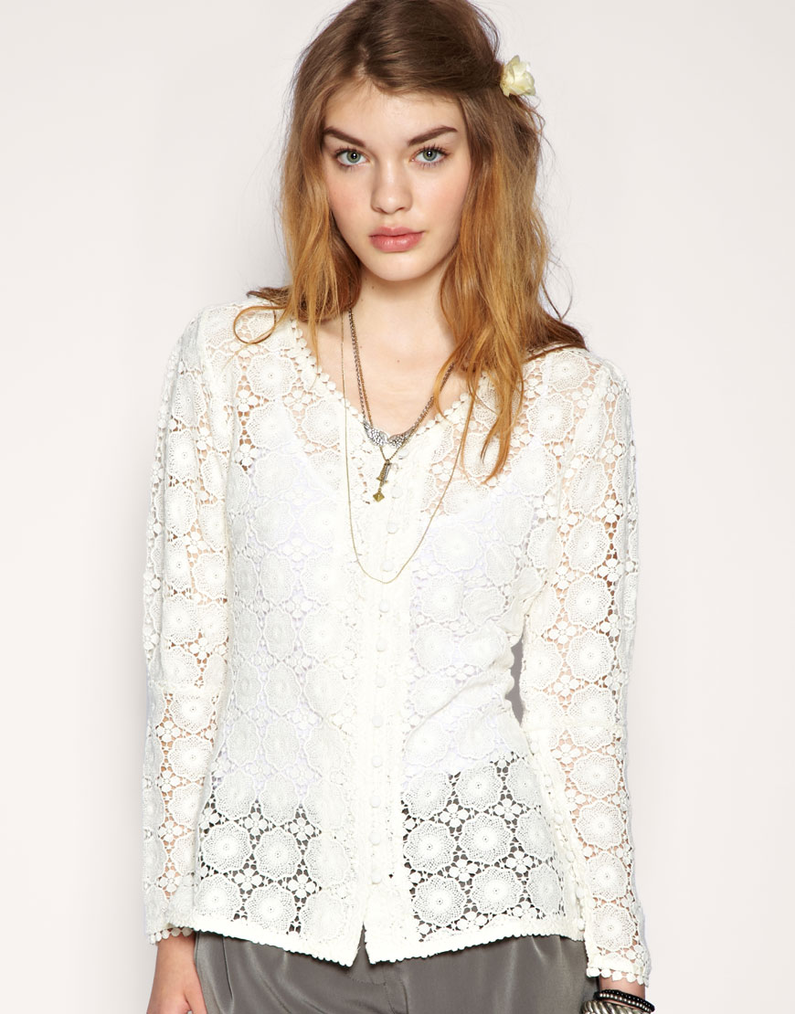 Darling puff sleeve lace cardigan at asos.com