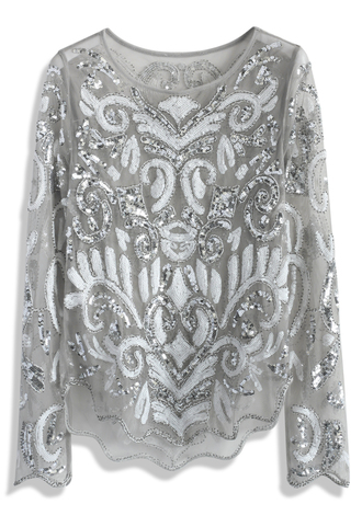 top shiny sequined mesh top in grey grey mesh top shiny top chicwish