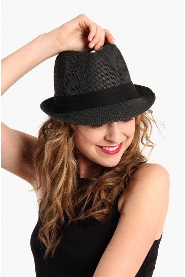 LoveMelrose.com From Harry & Molly | Hipster Fedora Hat - Black