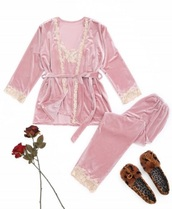 pajamas,girly,pink,velvet,lace,pajama pants,two-piece,matching set