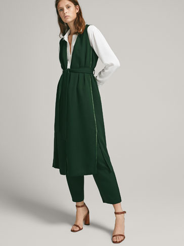 LONG VELVET WAISTCOAT WITH PIPING AND TIE - null - Massimo Dutti