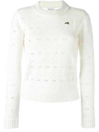 jumper heart women lace white wool sweater