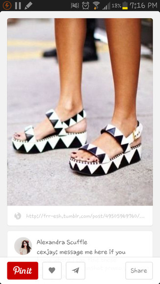 black and white shoes geometric flatforms platform shoes holographic