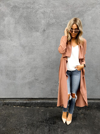 blondecollective blogger coat tank top shoes sunglasses jewels pink coat high heel pumps long coat skinny jeans fall outfits