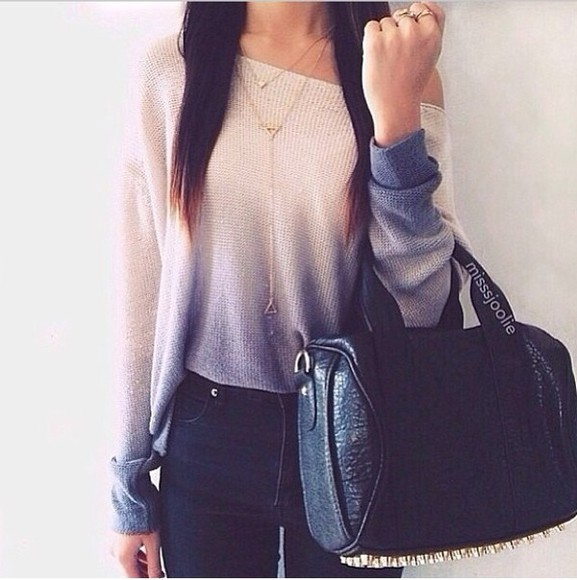 black white ombre bag jewels black ombre ombre sweater grey gold chain ring high waisted jeans