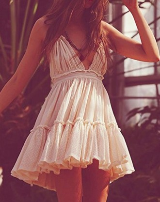 dress mini dress cream tan ivory summer dress beach dress ruffle dress