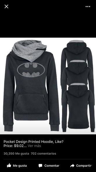 sweater sweatshirt batman batman hoodie batman sweater grey black