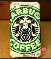 phone cover,iphone case,starbucks coffee,rhinestones