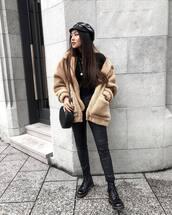 jacket,tumblr,fuzzy jacket,pants,black pants,leather pants,black leather pants,boots,black boots,biker boots,hat,fisherman cap,bag