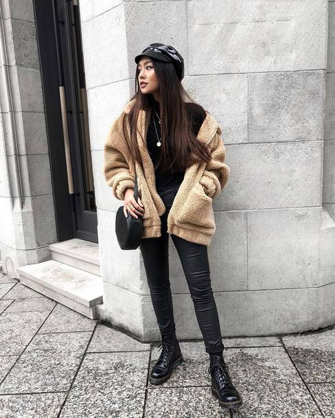 jacket tumblr fuzzy jacket pants black pants leather pants black leather pants boots black boots biker boots hat fisherman cap bag