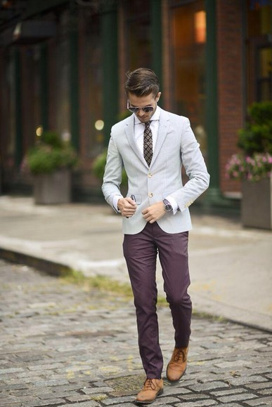 brown shoes jacket grey blazer blazer menswear smart casual smart casual style styl? boots on point ootd awesomeness happy tie classy