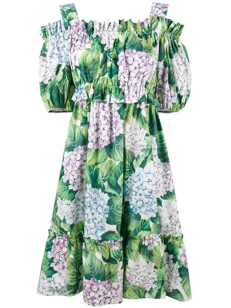 dress women cold cotton print green