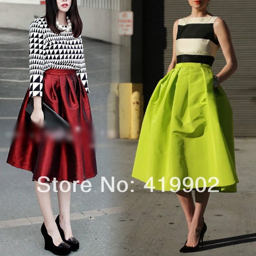 Vintage Retro Womens High Waist Elastic Flared Skater Pleated Skirt -in Skirts from Apparel & Accessories on Aliexpress.com