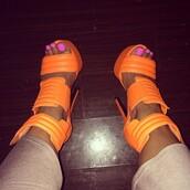 shoes,heels,high heels,orange,neon,clubwear,pink nails,neon orange,style,beige