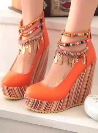 shoes wedges orange