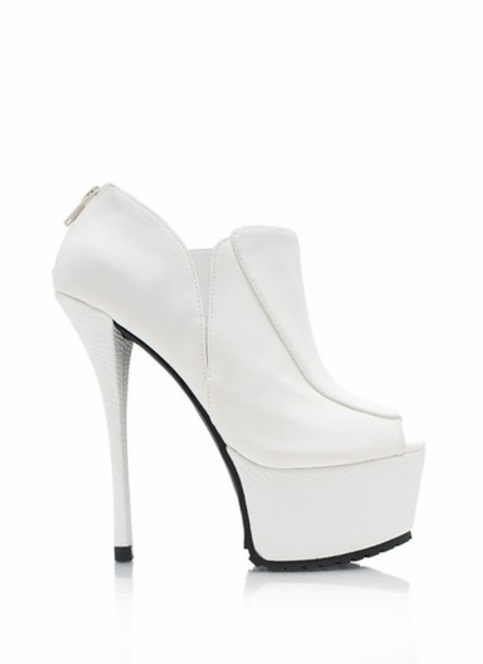 Shoes: all white everything, booties, platform high heels, heels ...