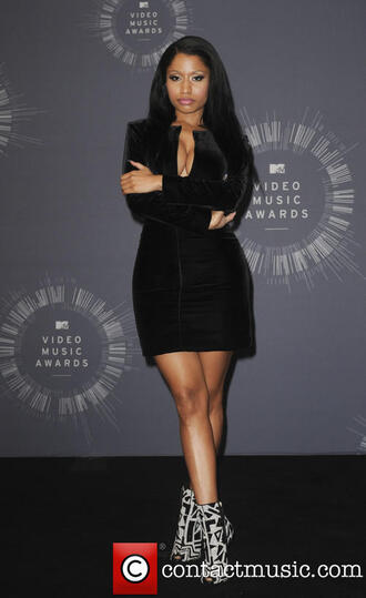 nicki minaj saint laurent black dress peep toe boots velvet shoes