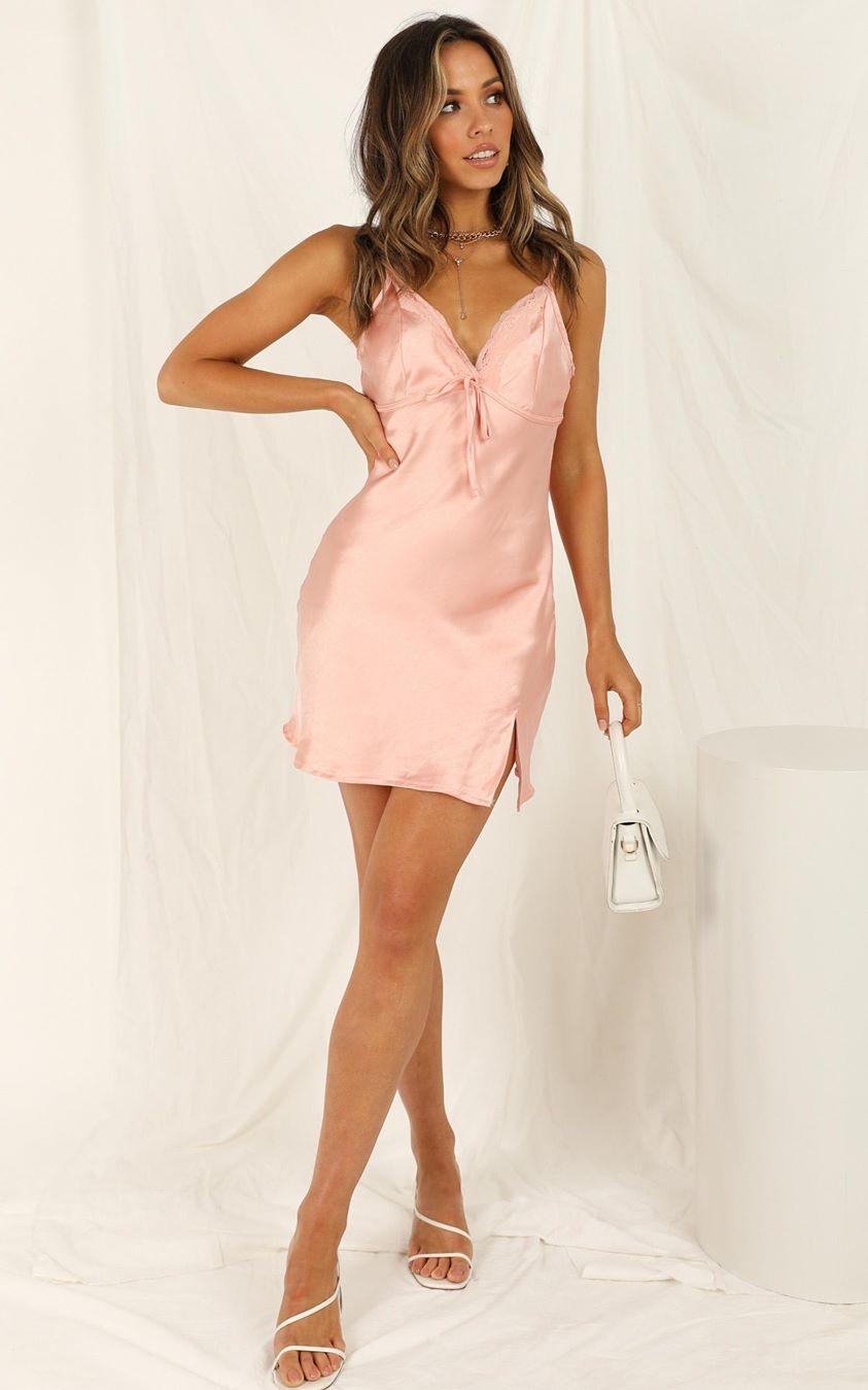 Showpo Stay In Line dress in peach satin - 6 (XS) Hens Night