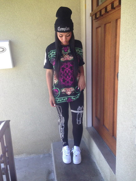 beanie printed leggings t-shirt graphic tee pants shirt varsity compton airforce1 tigers leggings swag help me out