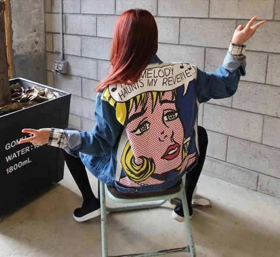 Pop Art, Retro, vintage cartoon back print denim jacket. Grunge tumblr style