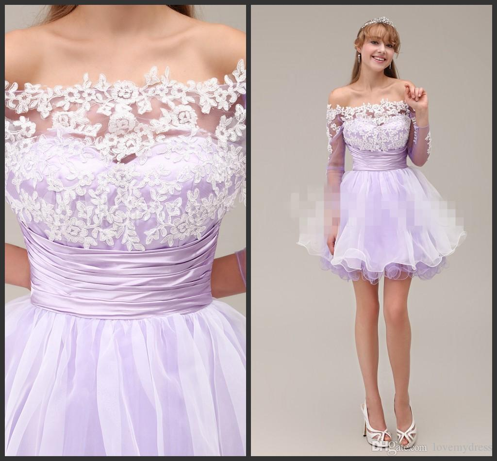 b38649dc442e Short Sweet 16 Dresses Homecoming Dresses Cheap 2016 Lavender Pipings  Backelss Off Shoulder Long Sleeve With White ...