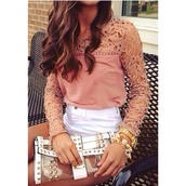blouse,nude blouse,cute blouse,clothes,wallet,shorts,beige shirt,dressy tops,fashion,white shorts,handbag,jewelry,long sleeve shirt,long sleeve top,long sleeves,nude,rose pink,lace top,pants,top