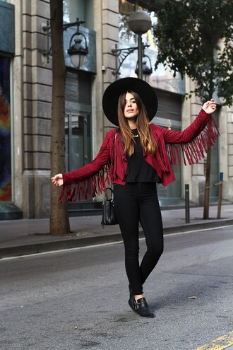 blogger bag fringes top jewels jacket fall outfits dulceida burgundy