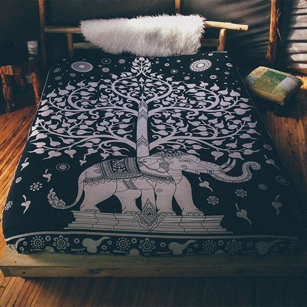 Home Accessory By The Moon Throw Queen Throw Bed Throw Elephant Elephant Print Elephant Throw Elephant Blanket Peppermayo Wheretoget