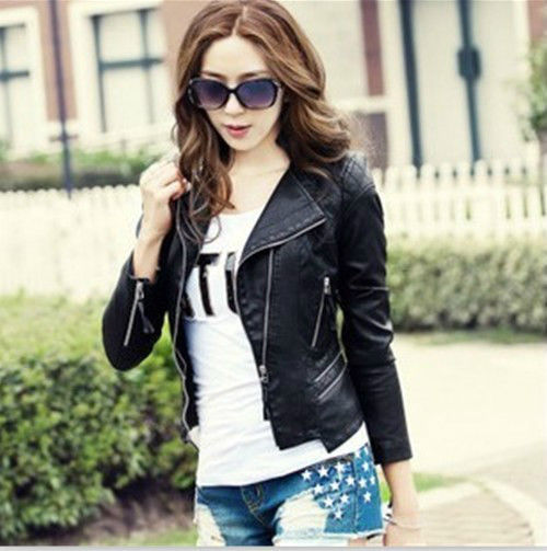 2013 New Runways Womens Moto PU Leather Zipper Short Jacket Coat 3 | eBay