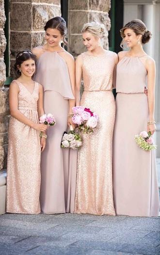 dress light purple dress rose gold dress bridesmaid gold dress purple dress