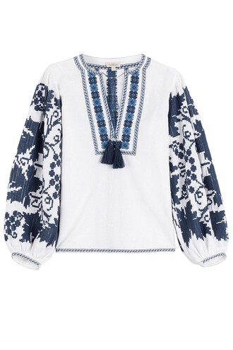 blouse embroidered cotton white top