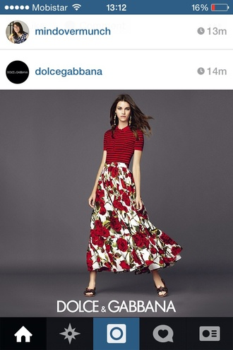 skirt roses white skirt dolce and gabbana