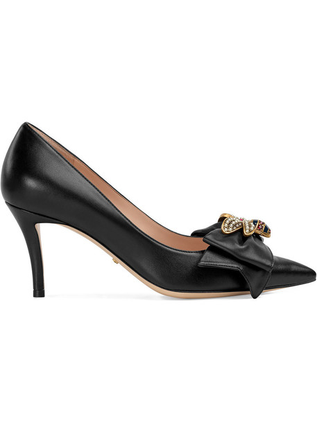 gucci heel bow metal women leather black shoes