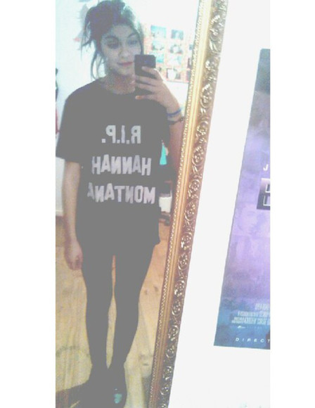 mirror iphone hannah montana rip tshirt with text black tshirt white text r.i.p. hannah montana miley cyrus extra large tshirt