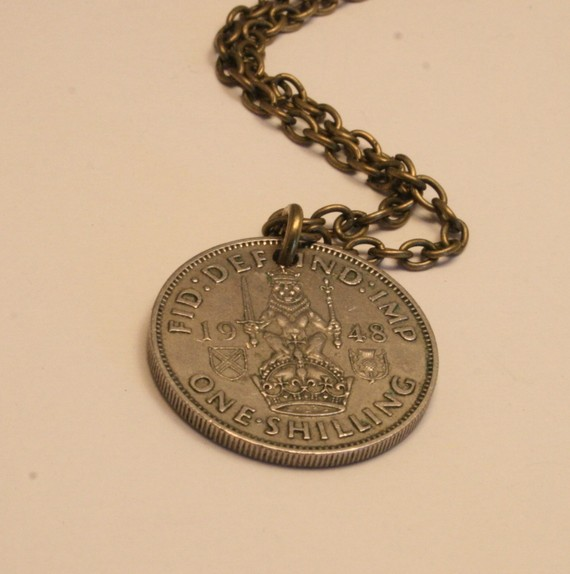 British shilling coin pendant  1948 design of a lion by dearsusan
