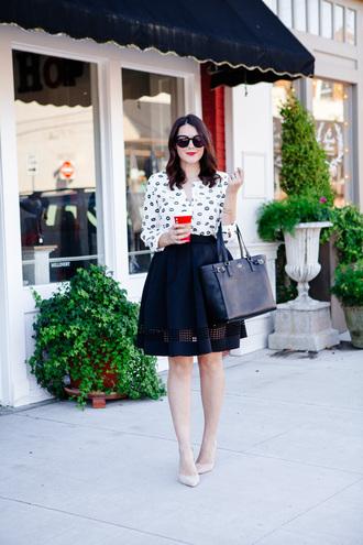 kendi everyday blogger blouse skirt shoes bag make-up sunglasses