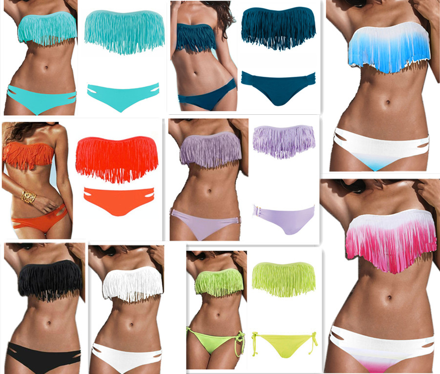 2pcs sexy padded tassel bikini bathing suit swimwear swimsuit 9colors fringe sml