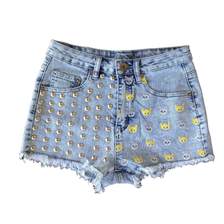 Studded Cat High Waisted Shorts / Studded High Waisted Shorts / High Waisted Short / Studded Shorts