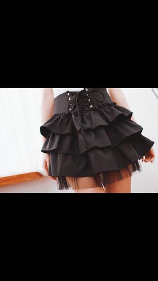 pirate skirt ruffle highwaist tied belt cute