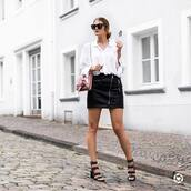 shirt,tumblr,white shirt,skirt,mini skirt,black leather skirt,leather skirt,sandals,sandal heels,high heel sandals,black sandals,bag,sunglasses,shoes