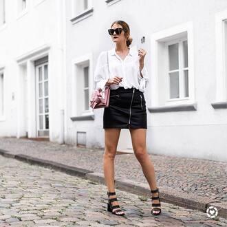 shirt tumblr white shirt skirt mini skirt black leather skirt leather skirt sandals sandal heels high heel sandals black sandals bag sunglasses shoes